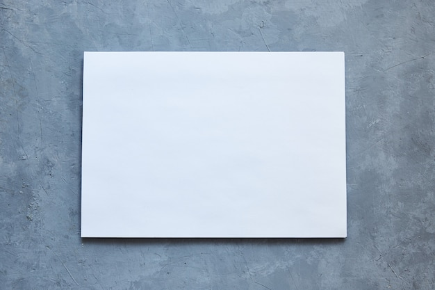 Weißes blatt auf grauem betonhintergrund.