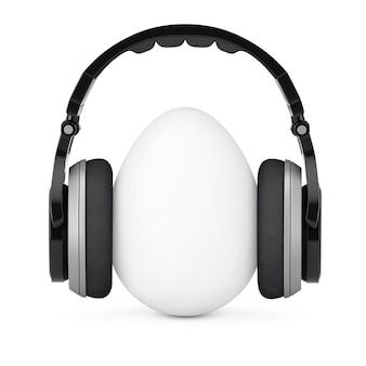Weißes ei in kopfhörern auf weißem hintergrund. 3d-rendering