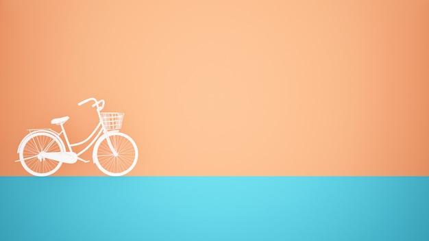 Weißes fahrrad auf blauem boden und orange wandhintergrund