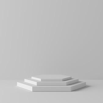 Weißes farbpodium der abstrakten geometriehexagonform auf weißem hintergrund für produkt. minimales konzept. 3d-rendering
