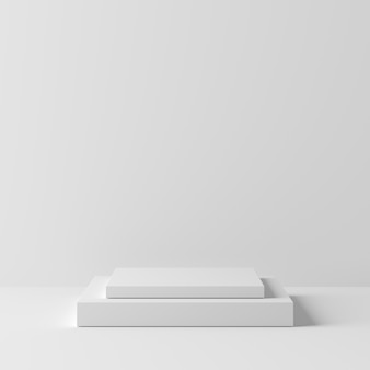Weißes farbpodium der abstrakten geometriequadrat-form auf weißem hintergrund für produkt. minimales konzept. 3d-rendering