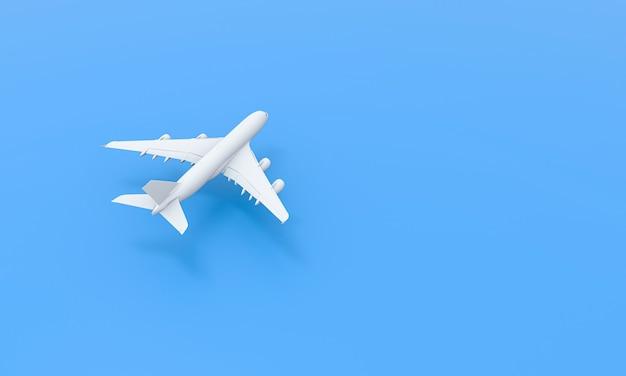 Weißes flugzeug auf blauem hintergrund. flaches lay-design. mit kopienraum. 3d-rendering.