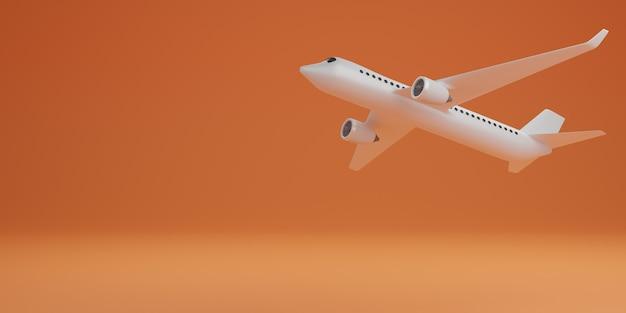 Weißes flugzeug auf orange hintergrund, technologiekonzept. 3d-rendering