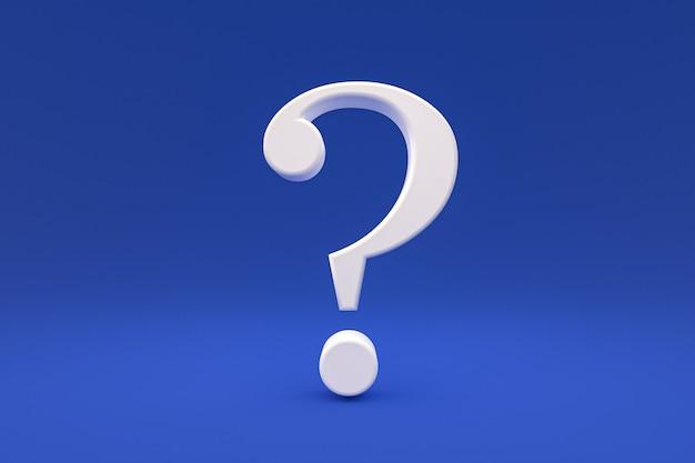 Weißes fragezeichen minimal auf blauem hintergrund, 3d-rendering, minimal- und kopierraum