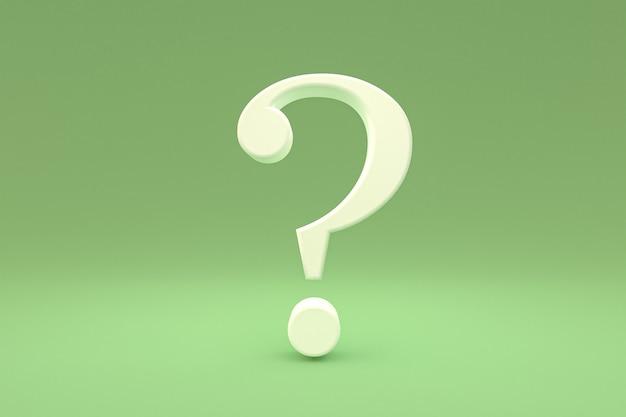 Weißes fragezeichen minimal auf grünem hintergrund, 3d-rendering, minimal- und kopierraum