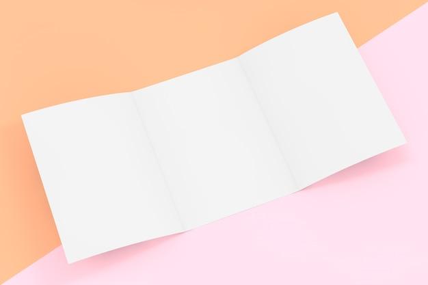 Weißes gefaltetes mockup-broschürenpapier mit freiem platz für ihr design auf rosa und orangefarbenem hintergrund. 3d-rendering