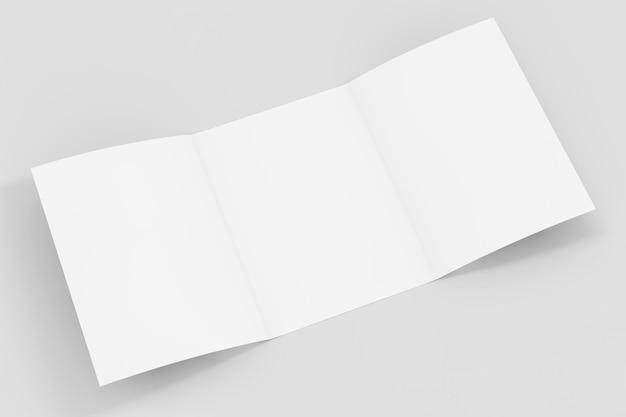 Weißes gefaltetes mockup-broschürenpapier mit freiem platz für ihr design auf weißem hintergrund. 3d-rendering