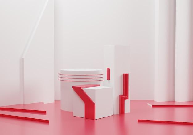 Weißes geometrisches modell mit roter dekoration