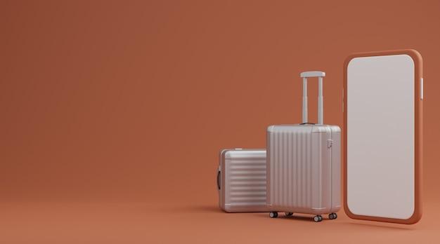 Weißes gepäck mit mobilem modell des weißen bildschirms über braunem hintergrundreisekonzept. 3d-rendering