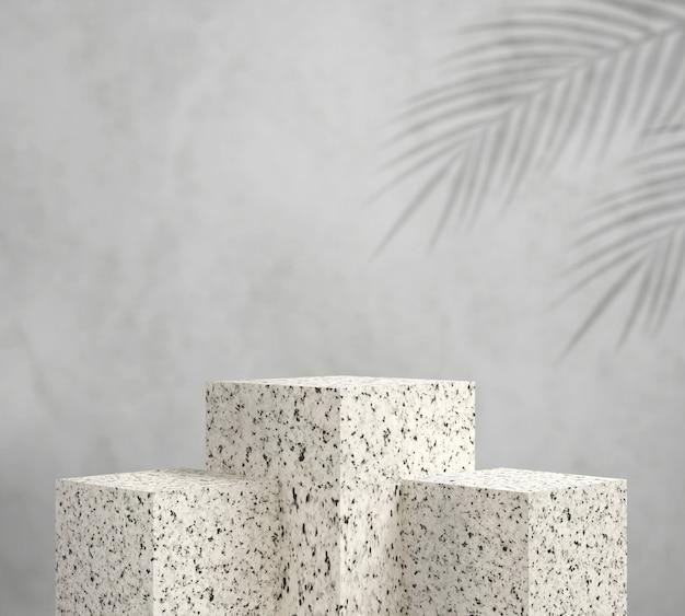 Weißes granitpodest 3d rendern mit blattpalme, abstrakter hintergrund, sockel für markenproduktausstellung.