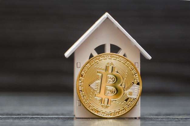 Weißes haus und münze bitcoin-münze