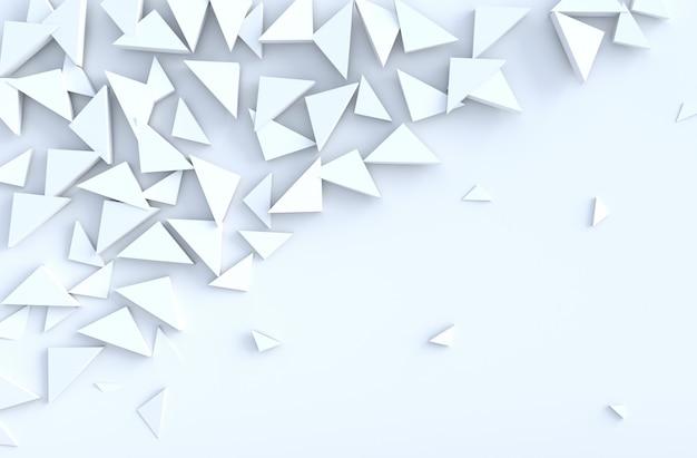 Weißes hintergrundmuster mit regelmäßigem verdrängtem dreieckmuster auf wand, 3d übertragen.