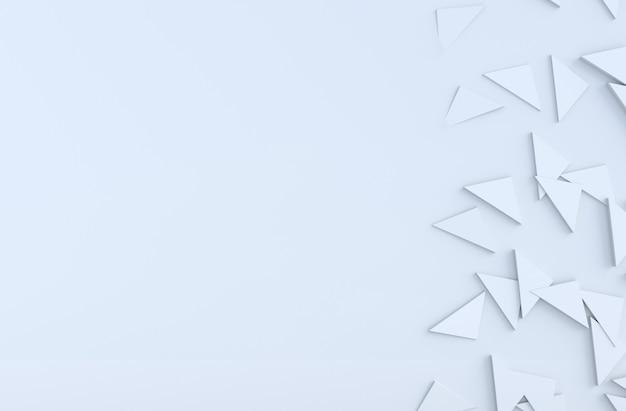 Weißes hintergrundmuster mit regelmäßigem verdrängtem dreieckmuster auf wand