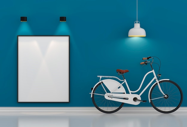 Weißes hippie-fahrrad, das im blauen raum mit lampe steht