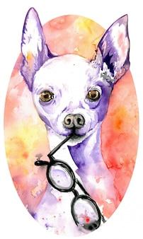 Weißes hündchen des aquarells mit gläsern in seinen kiefern. hund mit violetten spitzen ohren.