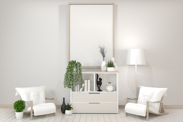 Weißes kabinett, rahmen, stuhl und dekoration pflanzen zen style.3d wiedergabe