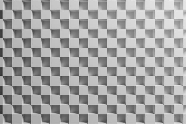 Weißes kariertes geometrisches muster der 3d-illustration von pyramiden.
