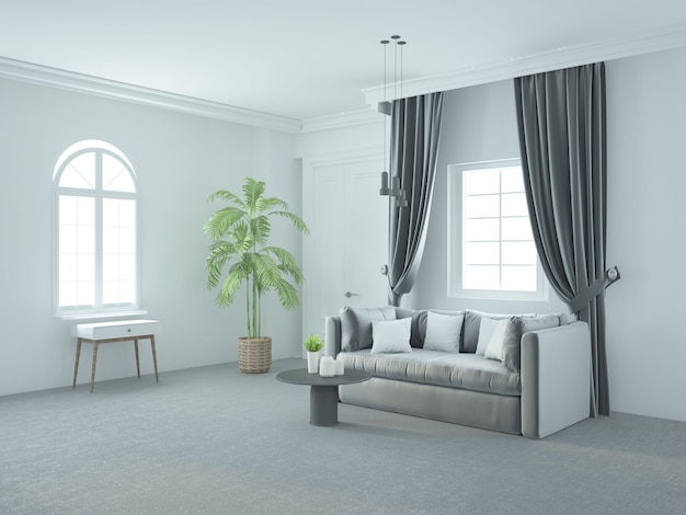 Weißes klassisches luxuriöses wohnzimmer