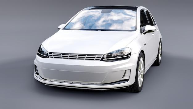 Weißes kleines familienauto fließheck auf grauem hintergrund. 3d-rendering.