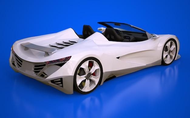Weißes konzeptionelles sport-cabriolet zum fahren durch die stadt und die rennstrecke auf blauem hintergrund. 3d-rendering.