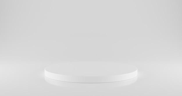 Weißes kreisförmiges podium auf weiß mit leerzeichen.