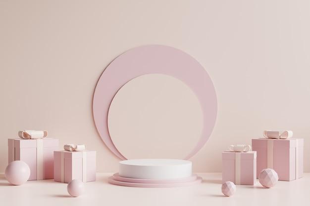 Weißes kreispodium verziert mit einer rosa geschenkbox an der seite und mit einem cremefarbenen hintergrund. 3d-rendering.