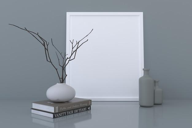 Weißes leeres fotorahmenmodell mit vasen und büchern