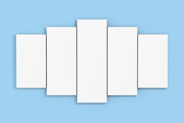 Weißes leeres poster auf einem blauen wandhintergrund. 3d-rendering