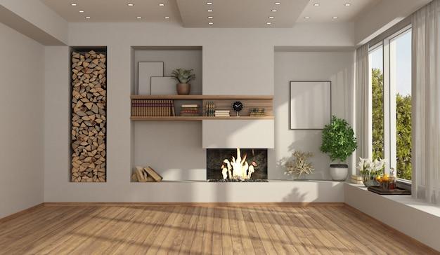 Weißes leeres wohnzimmer mit kamin