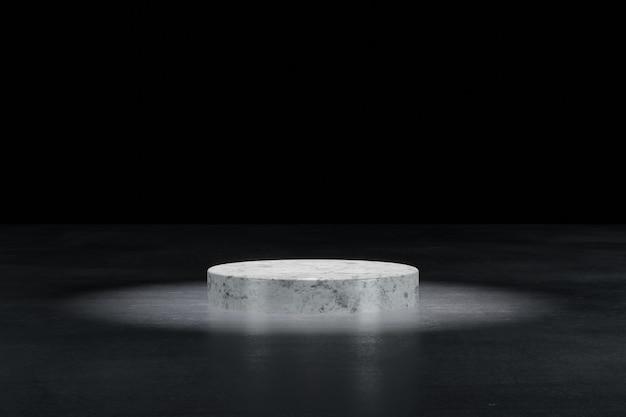 Weißes marmor-zylinder-podium in schwarz isoliertem hintergrund 3d-darstellung rendering