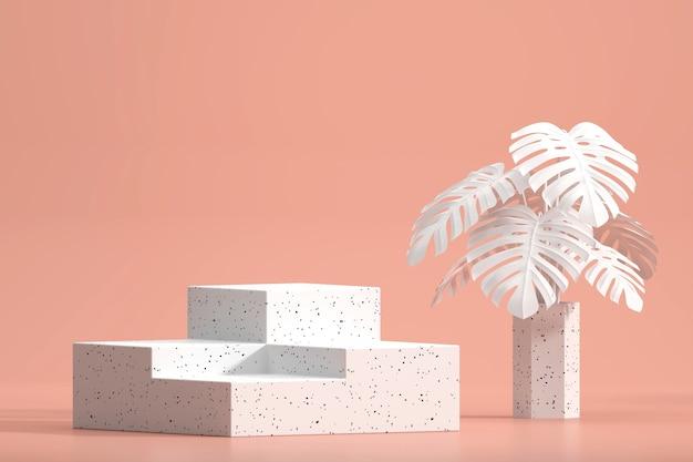 Weißes marmorpodest für produktanzeigevitrine mit monstera-topfdekorations-3d-darstellung