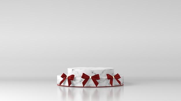 Weißes marmorzylinderpodest mit weihnachtsschmuck