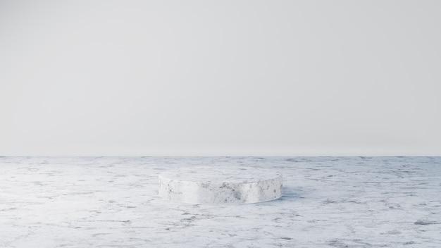 Weißes marmorzylinderpodium in weißem hintergrund 3d-darstellung, das szenenbühnenmodell rendert