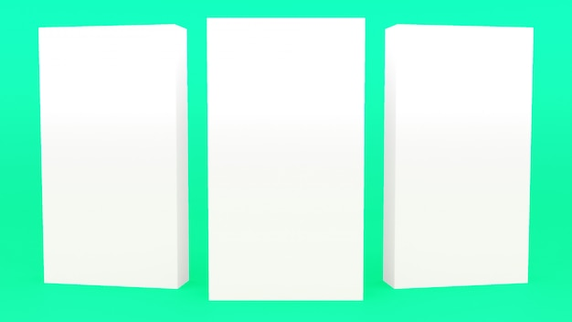 Weißes minimales 3d der werbungs-stand-fahne, das modernen minimalistic spott oben überträgt, leerer schaukasten 3d übertragen