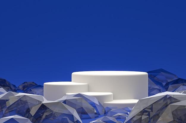 Weißes minimales podium oder sockeldisplay auf abstraktem blauem hintergrund für die präsentation von kosmetikprodukten