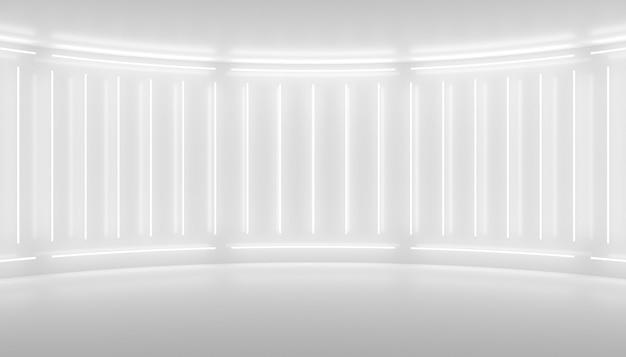 Weißes minimalistisches abstraktes 3d-hintergrund-neonlicht von lampen an den wänden der 3d-illustration der kreisförmigen bühne