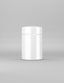 Weißes mittelglänzendes glas mit deckel auf grauem 3d-rendering
