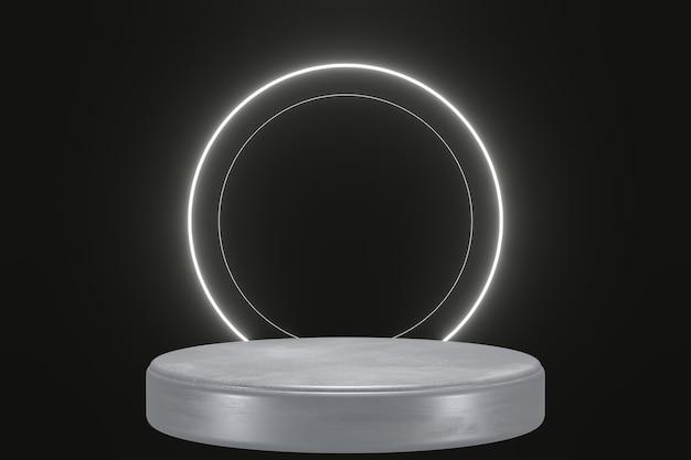 Weißes neonlichtprodukthintergrundstadium oder podestsockel auf schwarzem lokalisiertem hintergrund 3d