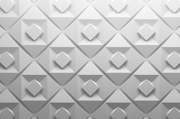 Weißes niedriges polyfliesenmuster mit einfachen geometrischen grundformen drehte quadrate in der weißen grauen farbe