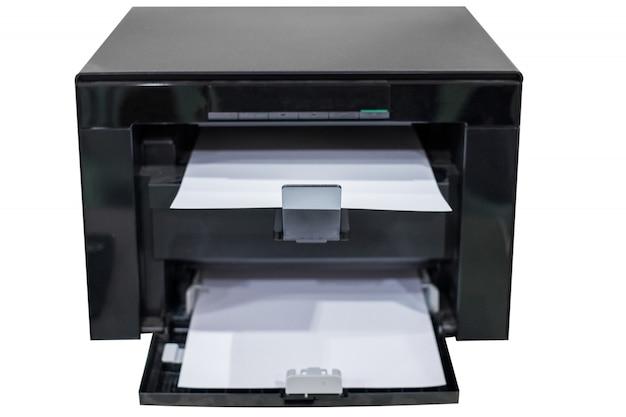 Weißes papier in schwarzem laserdruckertoner