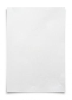 Weißes papierblatt lokalisiert auf weißem hintergrund