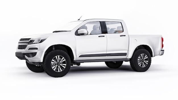 Weißes pickup-auto auf weißem hintergrund. 3d-rendering.