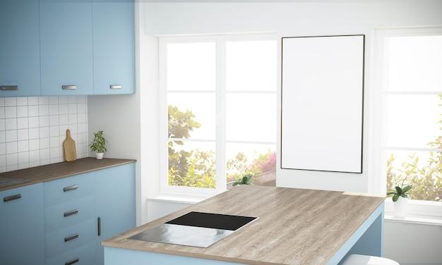 Weißes plakat am minimalen blauen küchenmodell