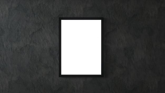Weißes plakat mit schwarzem rahmen auf schwarzem wandmodell. 3d-rendering.