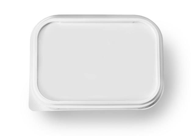 Weißes plastikpaket isoliert auf weiß mit beschneidungspfad