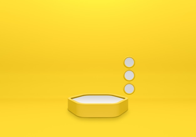 Weißes podestregal oder leere sockelanzeige auf gelbem hintergrund mit minimalem stil. leerer ständer für produktplatzierung. premium photo 3d-rendering