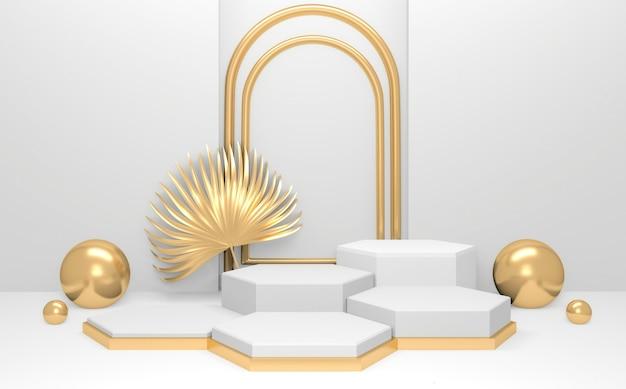 Weißes podium auf abstraktem minimalem hintergrundstil. 3d-rendering