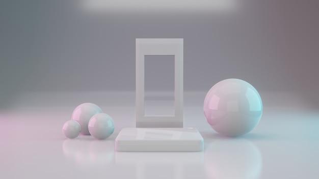 Weißes podium für produkte auf blauem und rosa hintergrund mit farbverlauf