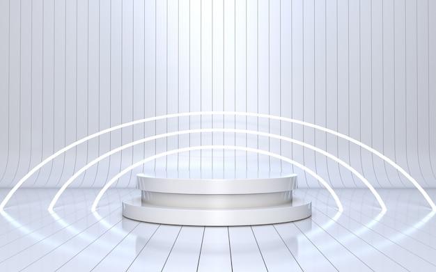 Weißes podium für produktpräsentation mit leuchtendem neon