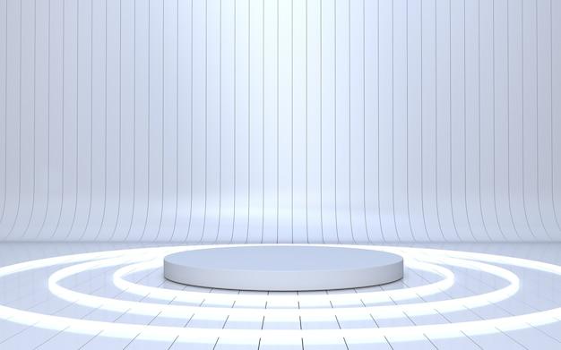 Weißes podium für produktpräsentation mit leuchtendem neonkreis